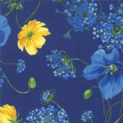 Moda - Summer Breeze 2019 - 7071 - Poppies Agapanthus on Royal Blue - 33440 17 - Cotton Fabric